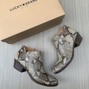 Lucky Brand Snakeskin Brintly Ankle Booties